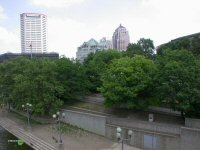 View from Broad Street bridge to Battelle Rieverfront Park in downtown Columbus, Ohio