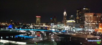 Picture taken at night from Miranova over downtown Columbus, Ohio
