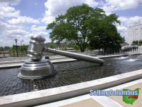 Gavel fountain outside The Federal Building in downtown Columbus, Ohio