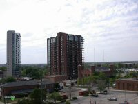 Miranova condominiums on the left is looking thin compared to Waterford Tower condominiums on the right in downtown Columbus, Ohio