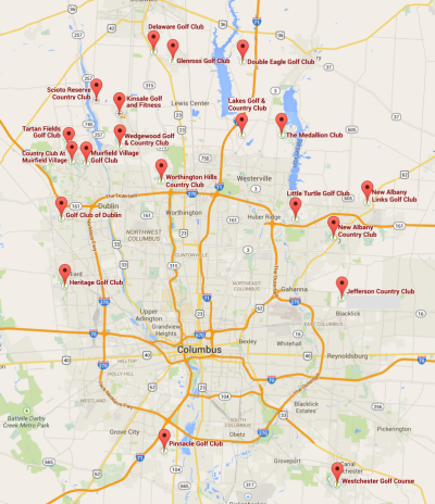 Map of golf course communities in Columbus, Ohio and throughout central Ohio