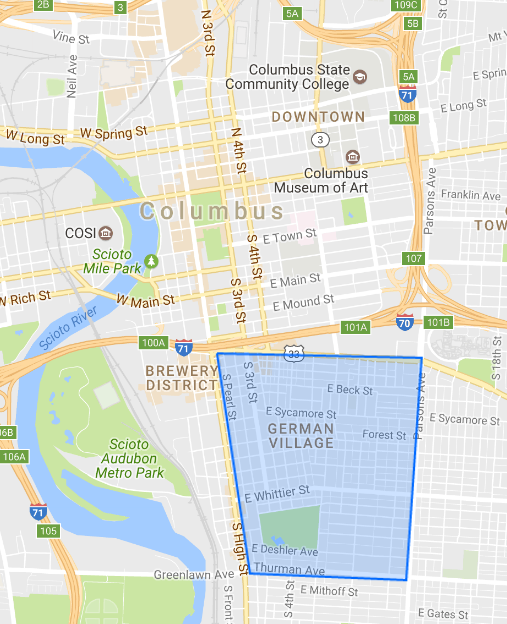 Map of the German Village area in Columbus, Ohio